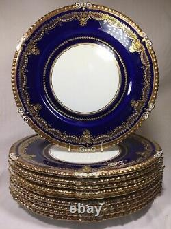 (10) AYNSLEY Heavy Gold & Jeweled Cobalt 10.5 Inch DINNER PLATES Mint