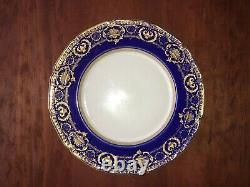 10 Royal Doulton Antique Cobalt Blue and Raised Gold Encrusted Dinner Plates