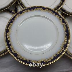 11 Limoges Depose France Cobalt Blue Gold 9.75 Dinner Plates Lot Set Ornate
