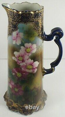 12 Antique Porcelain Tankard / Ewer Cobalt Blue Gold Enamel Moriage Nippon