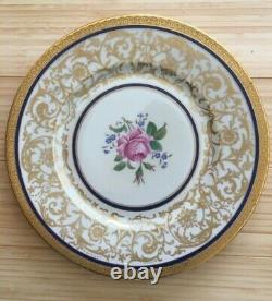 12 Gold Encrusted Czechoslovakia 10.75 CABINET PLATES withCobalt & Rose &- Mint