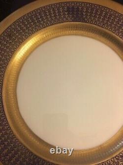 12 Rare Vintage Lenox Cobalt/Gold Encrusted Dinner Charger Plates, #1830/M30