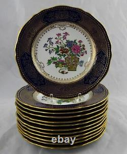 12 Spode Copelands Dessert Plates R5146 for Tiffany & Co Cobalt Blue & Gold