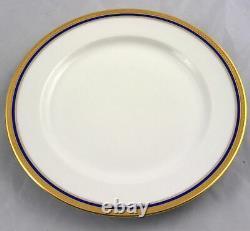 12 Vignaud Limoges Seville Gold Gilt & Cobalt Blue Band Salad Dessert Plates 8