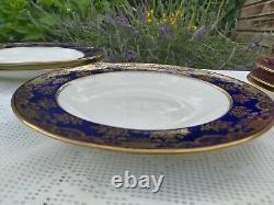 12 x Wedgwood Deep blue cobalt richly decorated gold Dinner service