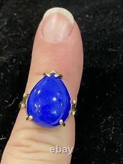 14K Yellow Gold & Cobalt Blue Lapis Lazuli Teardrop Ring Size 7.75 Beautiful