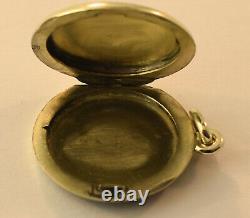 14k White Gold Cobalt Blue Enamel Double Locket Pendant