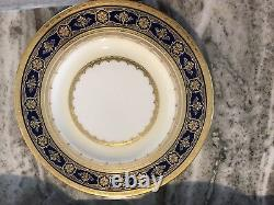 15 Tiffany Minton Bone China Luncheon Dessert Plate Cobalt Blue with Gold H3839