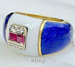 18K Yellow Gold Diamond Ruby Ring Cobalt Blue White Enamel Vintage Dome Heavy 9
