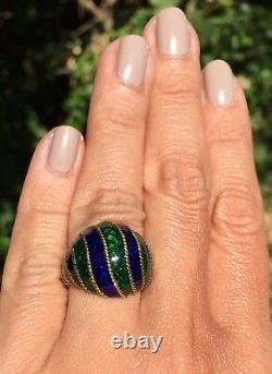 18K Yellow Gold Guilloche Enamel Green Cobalt Blue Twisted Cable Domed Ring Sz 6