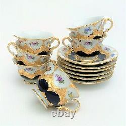 1930's Meissen Porcelain 15 Piece Cobalt, Heavy Gold & Floral Coffee Service