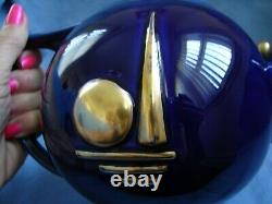 1939 World's Fair Teapot Hall China Cobalt Blue With Gold Trylon & Perisphere