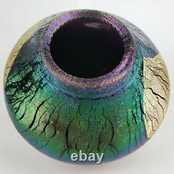 1988 Robert Eickholt Gold Foil Iridescent Cobalt Blue Glass Volcano Bud Vase