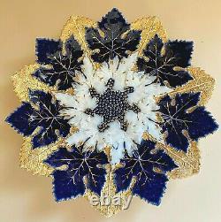 19th C Antique 9-1/2 Meissen Triple Maple Leaf Plate Cobalt Blue, Gold, White