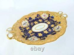 19th Century English RIDGWAY Porcelain 2-Handled Tray HEAVY GOLD & Cobalt Blue