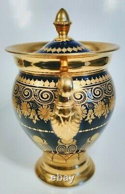 19th Century Old Paris Gold and Cobalt Blue 9 Pc Porcelain Coffee Tea Set & Bowl