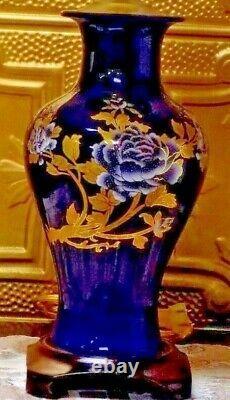 27 Cobalt Blue & Gold Peony Chinese Porcelain Vase Lamps Japanese Cloisonne