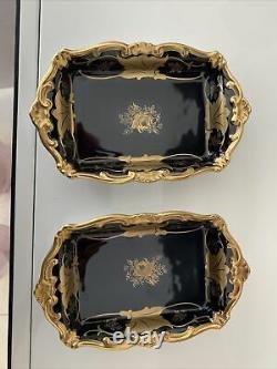 2 German Echt Weimar Gold Cobalt Kobalt Blue 7´´ dishes -new