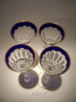 4(set) Saint Louis Crystal Excellence Gold Encrusted Cobalt Hock Goblets 10 1/4