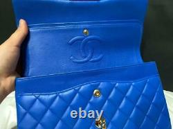 $6,500+tax CHANEL CLASSIC MEDIUM FLAP COBALT BLUE Gold Hardware Full BOX Receipt