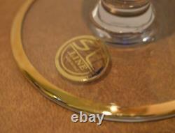 6 Arte Italica SC Line AIZ2 Gold Encrusted Cobalt Glass Champagne Flutes Goblets