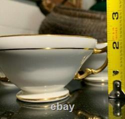 6 Minton for Tiffany & Co. Cobalt & Gold Gilt Double Handle Bouillon Soup Bowls