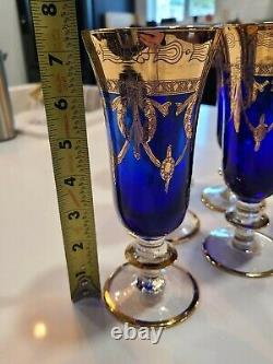 6 Vintage Venetian Cobalt Blue And Gold Hand Painted Footed Glasses Murano