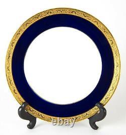72 Piece Raynaud Limoges CONDE Cobalt Blue Gold France Porcelain Dinnerware Set