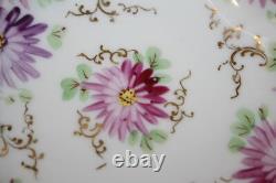 7pc Vtg HandPainted Pink/Purple Floral, Cobalt/Gold Trim Pierced BERRY BOWLS Set