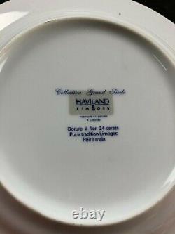 8 x French Limoges Cobalt Blue and Gold Salad Plates 8.75 Wide Set Gilded