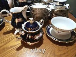 93 Piece set Reichenbach Blue gold Cobalt Kobalt China set with painted flowers