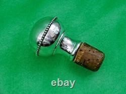 ANTIQUE COBALT BLUE GLASS WINE DECANTER ENAMEL GOLD Sterling Silver Stopper 19C
