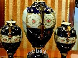 ANTIQUE JAPANESE 3 NIPPON HAND PAINTED COBALT BLUE withHEAVY GOLD PORCELAIN URNS