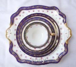 Adderley Bone China Cobalt Blue & Rose Buds Gilded Tea set