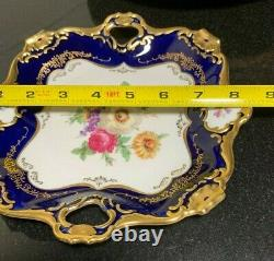 Alka Colbalt Meissen Flowers 8 1/4 Square Handled Serving Tray Heavy Gold