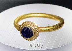 Ancient Roman Gold Ring With Cobalt Blue Glass Insert Wearable! Charming Piece