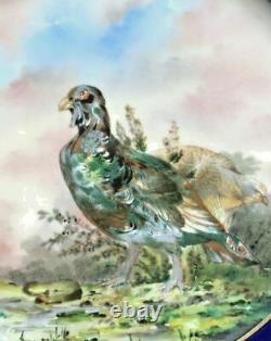 Antique12 HAVILAND LIMOGES HP GAME BIRD CABINET PLATE, COBALT & GOLD GARLAND