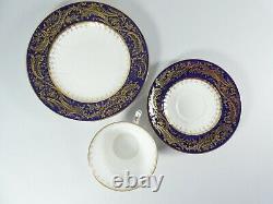 Antique 1900 Wedgwood Bone China 7pc Teaset Tea Set Trio Cobalt Blue Gold Y6090