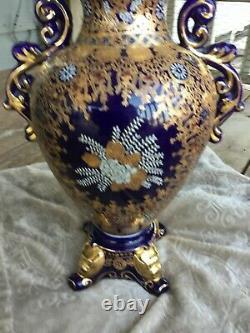 Antique 24kt Gold gilded Vase Urn Handles Footed Lid Dark Cobalt Blue Porcelain