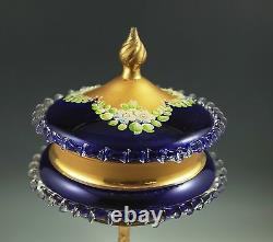 Antique Bohemia Moser Cobalt Glass Large Covered Compote, Heavy Gold, Enamel