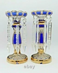 Antique Bohemian Victorian Czech Cobalt Blue Glass & Gold Mantle Lusters Lustres
