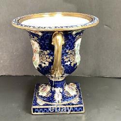 Antique Chelsea Bird Style Handled Urn Cobalt Blue Gold Bird Flowers