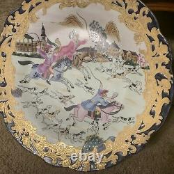 Antique Chinese Plate Charger Hand Painted Enamel Cobalt Blue Gild Gold Fox Hunt
