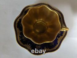 Antique Coalport Cobalt/Gold Guilded Scalloped Cup &Saucer Excellent