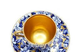 Antique Coalport Demitasse Cup Saucer Floral Flower Cobalt Blue Gilded Gold