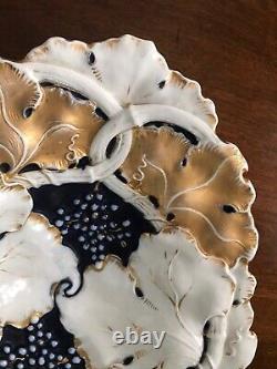 Antique Cobalt Blue and Gold Gilt Meissen Centerpiece Bowl 14