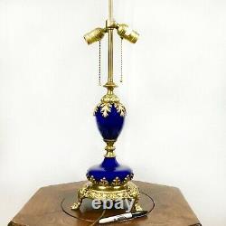 Antique Cobalt Glass Lamp with Golden Leaf