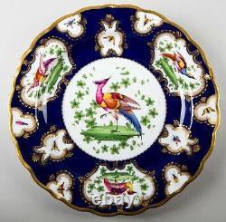 Antique Copeland Cobalt Blue & Gold Chelsea Bird Luncheon Plates Set 4 England