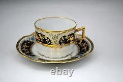 Antique Fisher & Miegs Pirkenhammer Cup & Saucer Cobalt Blue & Raised Gold