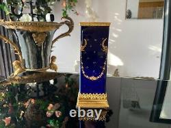 Antique French Cobalt Blue Gold Sevres Porcelain Vase! Bronze Base Top 18th cen